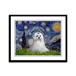 Starry Night & Maltese Framed Panel Print