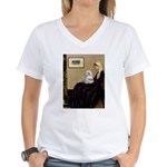 Whistler's Mother Maltese Women's V-Neck T-Shirt