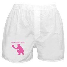 Pink Baseball Catcher (Custom) Boxer Shorts