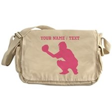 Pink Baseball Catcher (Custom) Messenger Bag