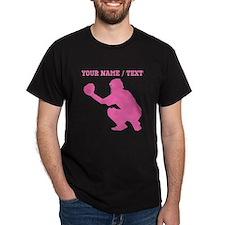 Pink Baseball Catcher (Custom) T-Shirt