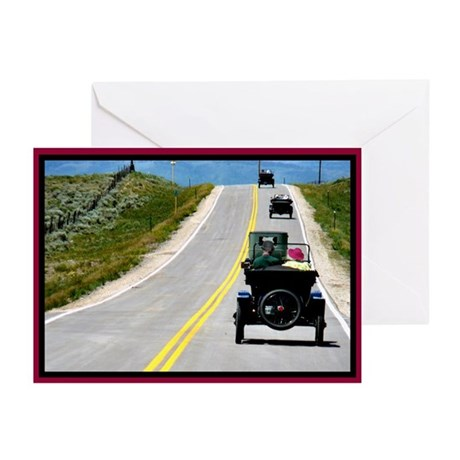 On the road Antique Cars Greeting Cards (Pk of 20)