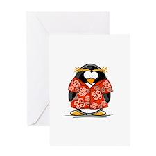 Red Hawaiian Penguin Greeting Card