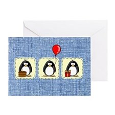 3 Penguins Birthday Card