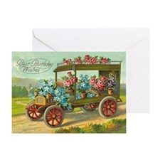 Victorian Birthday Flower Car Greeting Card