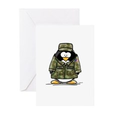 US Military Penguin Greeting Card