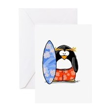 Surfing Macaroni Penguin Greeting Card