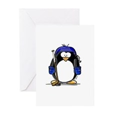 Hockey Penguin Greeting Card