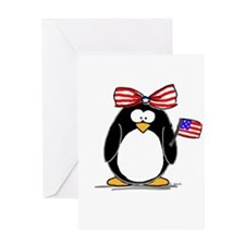 Patriotic Girl penguin Greeting Card