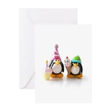 Birthday Party Penguins Greeting Card