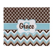 Brown Tan Chevron Quatrefoil Personalized Throw Bl