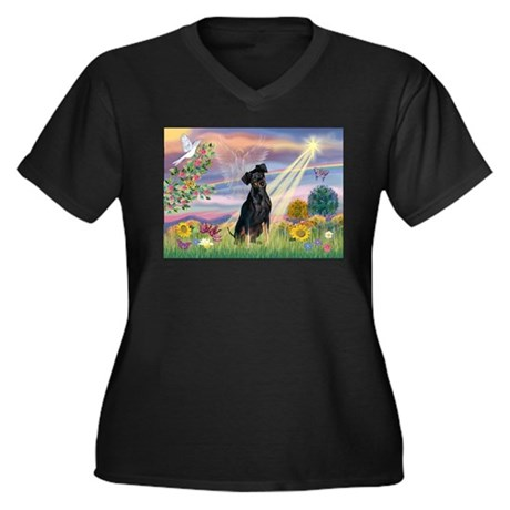 Cloud Angel Min. Pinscher Women's Plus Size V-Neck