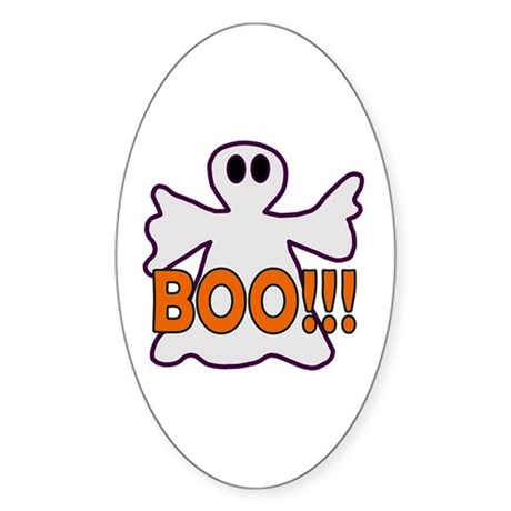 Boo Halloween Ghost Oval Sticker