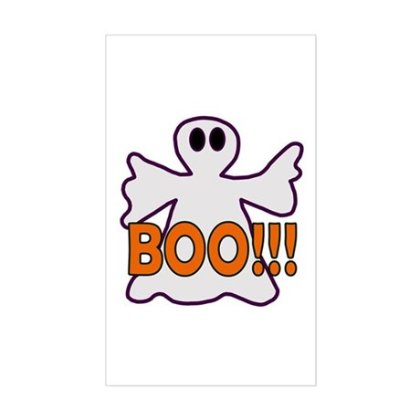 Boo Halloween Ghost Rectangle Sticker