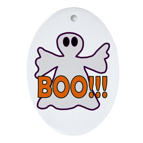 Boo Halloween Ghost Oval Ornament