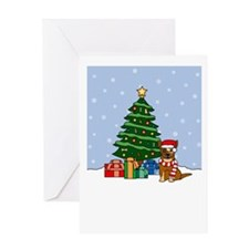 Red Cattle Dog Christmas Greeting Card