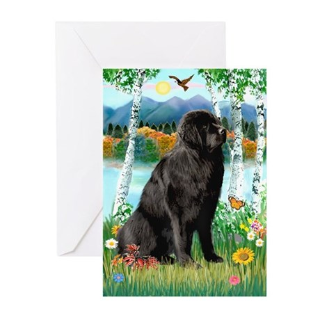 Newfie in the Birches Greeting Cards (Pk of 20)