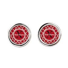 Custom Name And Initial Red Quatrefoil Round Cuffl