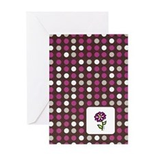 Plum Dots with Flower Greeting Card