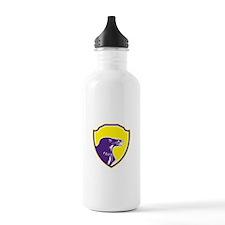Raven Head Woodcut Retro Shield Water Bottle