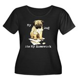 Pug Ate Homework Women's Plus Size Scoop Neck Dark