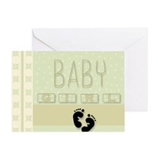 Footprints Baby Girl Greeting Card