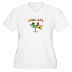 CHILL OUT, MARGARITA Women's Plus Size V-Neck T-Sh