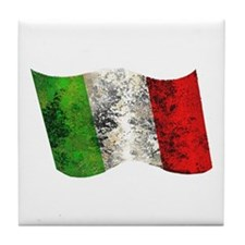 Retro flag of Italy Tile Coaster