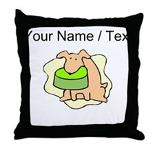Custom Dog And Bowl Throw Pillow