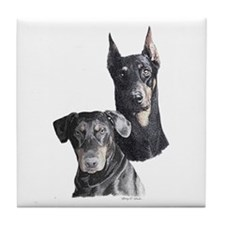 Two Dobermans Tile Coaster