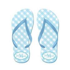 Blue Gingham Monogram Flip Flops