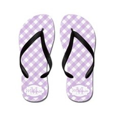 Purple Gingham Monogram Flip Flops