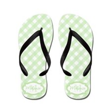 Mint Gingham Pattern Flip Flops