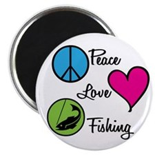 "Peace Love Fishing 2.25"" Magnet (10 pack)"