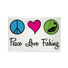 Peace Love Fishing Rectangle Magnet (100 pack)