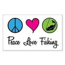 Peace Love Fishing Rectangle Decal