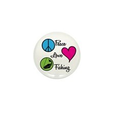 Peace Love Fishing Mini Button (10 pack)