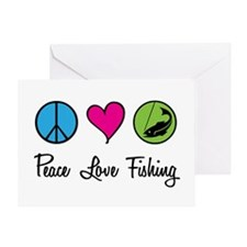 Peace Love Fishing Greeting Card