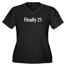 Finally 21 Women's Plus Size V-Neck Dark T-Shirt