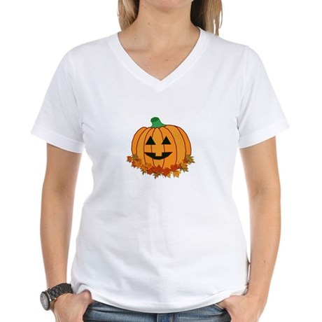 Halloween Jack-o-lantern Women's V-Neck T-Shirt