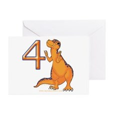 Kids Dino 4th Birthday Invitation Cards 10 pk