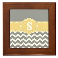 Gray Yellow Chevron Monogram Framed Tile