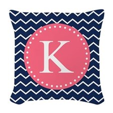 Navy Chevron Pink Monogram Woven Throw Pillow