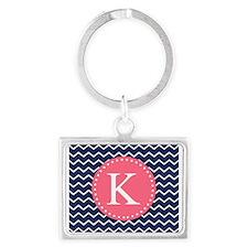 Navy Chevron Pink Monogram Keychains