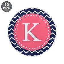 """Navy Chevron Pink Monogram 3.5"""" Button (10 pack)"""