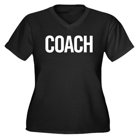 Coach (white) Women's Plus Size V-Neck Dark T-Shir
