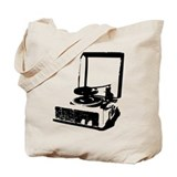 Retro Record Player Tote Bag