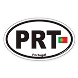 Portugal PRT Euro Oval Sticker with Flag
