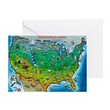 USA Cartoon Map Greeting Card