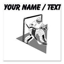 "Custom Hockey Goalie Square Car Magnet 3"" x 3"""